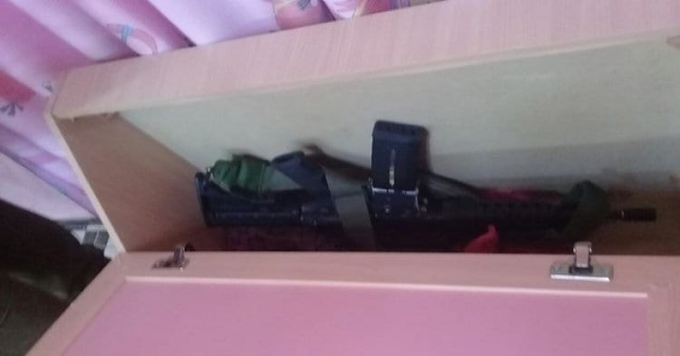 Photo of Terrorists Hid Weapons in Child's Bed
