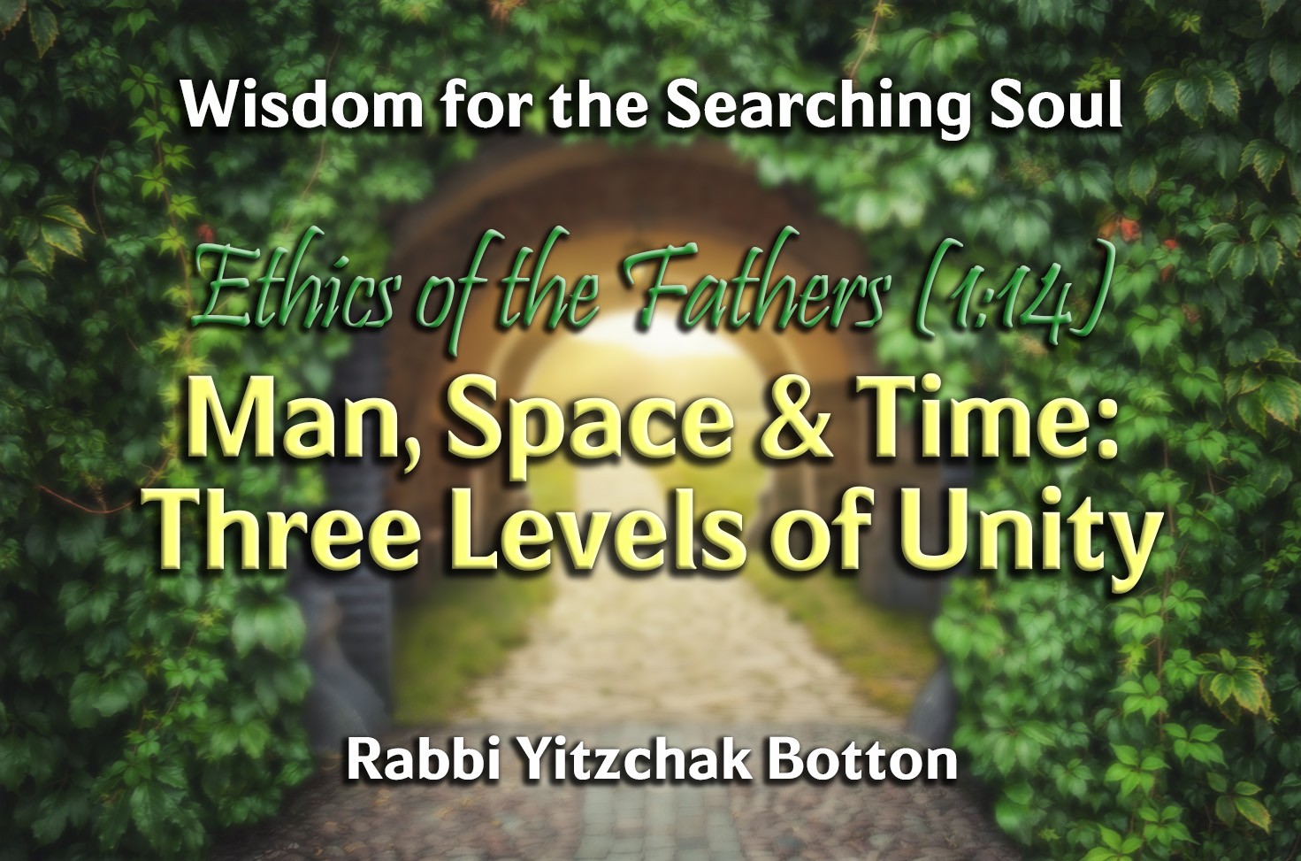Photo of Man, Space & Time – Three Levels of Unity – Ethics of the Fathers (1:14)
