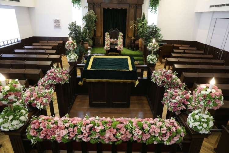 Photo of Magnificent Images of a Synagogue in Israel Decorated for Shavuot