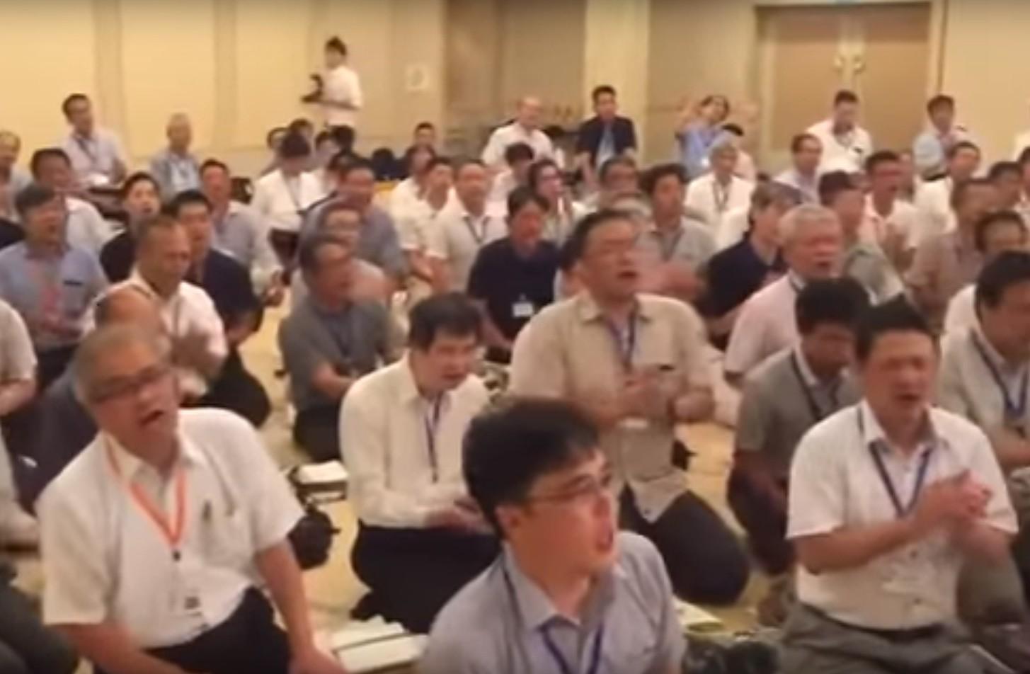 Photo of Japanese Men Sing Carlebach's Barcheinu Avinu with Rabbi Benny Lau