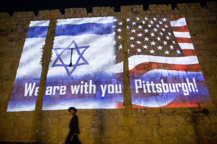 Photo of Old City Walls of Jerusalem Lit Up in Solidarity with Pittsburgh Victims